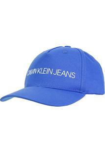 Boné Calvin Klein Jeans Aba Curva - Feminino-Azul Royal