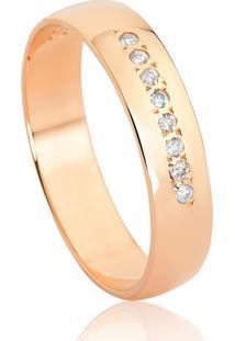 Aliança De Ouro Rosê 18K Reta Abaulada Polida Com Diamante