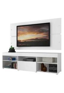 Rack Com Painel Para Tv Até 65 Polegadas Madesa Havaí 1 Porta Branco Branco
