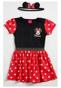 Vestido Infantil Estampa Bolinha Minnie Disney