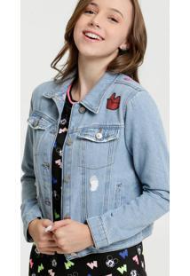 Jaqueta Juvenil Jeans Destroyed Estampada Marisa