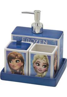 Jogo Para Banheiro Frozen®- Azul & Branco- 4Pçs-Mabruk
