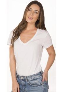Camiseta Cora Básico Decote V Algodão Orgânico Feminina - Feminino-Branco