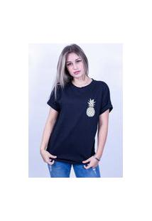 Camiseta Bilhan Corte A Fio Abacaxi Gde Preta