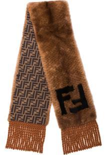 Fendi Cachecol De Pele Com Logo - Marrom