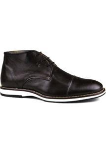 Sapato Couro Brogue Premium Masculino Confort - Masculino-Marrom Escuro