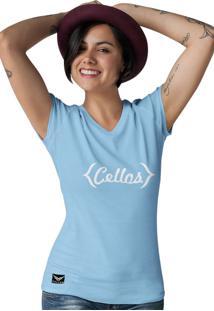 Camiseta Gola V Cellos Retro Premium Azul Claro