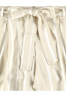 Shorts Clochard Listrado Cinto Branco Off White - Lez A Lez