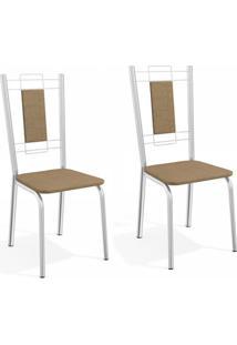 Conjunto Com 2 Cadeiras De Cozinha Florença Cromado E Capuccino