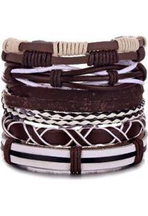 Bracelete Artestore 5 Em 1 Pulseira Em Couro - Unissex