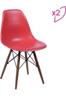 Jogo De Cadeiras Eames Dkr- Vermelho & Madeira Escura