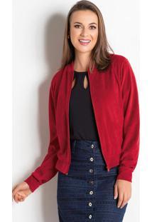 Jaqueta Bomber Vermelha Moda Evangélica