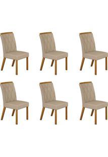 Conjunto Com 6 Cadeiras Esmeralda Imbuia Mel E Veludo Palha
