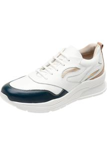 Tenis Dad Sneakers Ref 3700 Branco - Indigo - Pele - Ouro