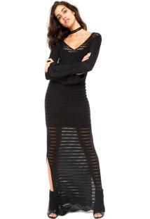 Vestido Calvin Klein Crochê Preto
