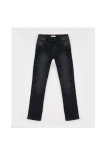 Calça Jeans Infantil Skinny Com Recortes Preta
