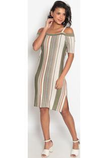Vestido Listrado Recortes Vazados- Bege & Verde- Vipvip Reserva