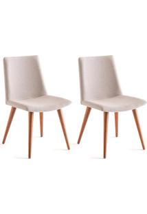Conjunto Com 2 Cadeiras De Jantar Make Creme E Castanho