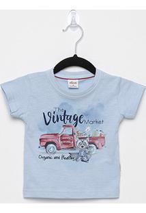 Camiseta Infantil Elian Flamê Vintage Masculina - Masculino-Azul Claro