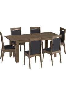 Conjunto Mesa Elast. 8 Cadeiras Marrom Mã³Veis Canã§Ã£O - Marrom - Dafiti