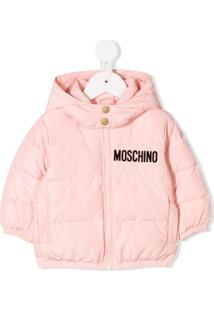 Moschino Kids Logo Print Padded Jacket - Rosa