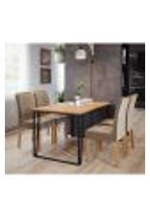 Conjunto De Mesa De Jantar Lisa Com 4 Cadeiras Juliana Suede Nature E Joli