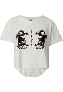 Camiseta John John Dragon Malha Algodão Off White Feminina (Off White, G)