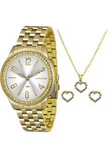 Kit De Relógio Analógico Lince Feminino + Brinco + Colar - Lrg4338L Kt03S2Kx Dourado