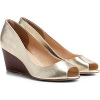 b80065cee8 Peep Toe Couro Shoestock Anabela Fachete Feminino - Feminino-Dourado