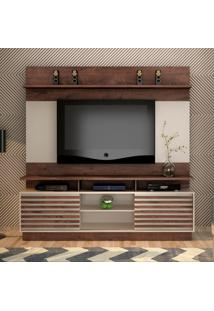 Estante Para Home Theater E Tv Até 60 Polegadas Texas Castanho E Off White