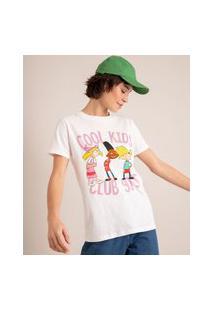 Camiseta De Algodão Estampada Hey Arnold Manga Curta Decote Redondo Off White