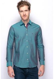 Camisa Social Slim Fit Teodoro Jacquard Algodão Masculina - Masculino-Verde