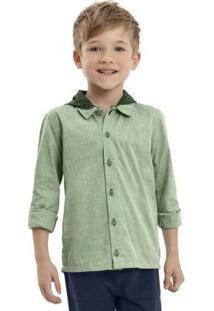 Camisa Infantil Manga Longa Verde