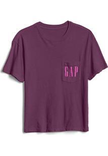 Camiseta Gap Bolso Logo Roxa