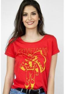 Camiseta Feminina Shazam Silhouette - Feminino-Vermelho