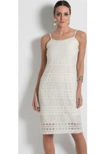 Vestido Em Renda Com Alças Mink Off White