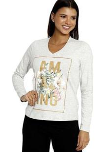 Camiseta Energia Fashion Manga Longa Plus Size Feminina - Feminino-Cinza