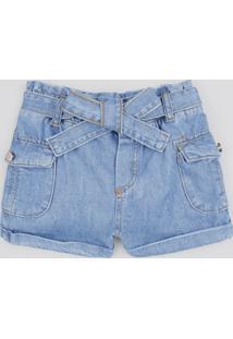 Short Jeans Infantil Clochard Com Faixa Para Amarrar Azul Médio