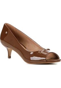 Peep Toe Shoestock Salto Baixo Verniz Naked - Feminino-Avelã