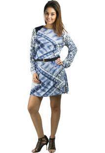 Vestido Banna Hanna Visco Com Detalhe Em Couro Cobra Azul - Feminino