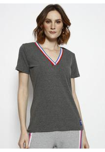 Camiseta Mescla Com Tag- Cinza & Rosa- Coca-Colacoca-Cola
