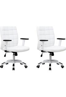 Conjunto Com 2 Cadeiras De Escritório Diretor Premium Fitz Branco