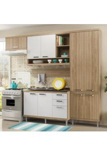 Cozinha Compacta 9 Portas 3 Gavetas Sicília Balcão P/ Pia 5838 Branco/Argila - Multimóveis