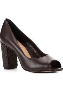 Peep Toe Shoestock Couro Salto Médio Bloco - Feminino-Marrom
