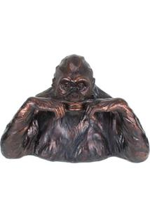 Escultura Udecor Gorila Surdo Marrom