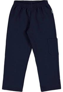 Calça Primeiros Passos Menino Moletom - Masculino-Marinho