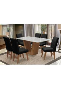 Conjunto De Mesa Para Sala De Jantar Com 6 Cadeira Veneza-Dobue - Cedro / Branco Off / Preto Vlp