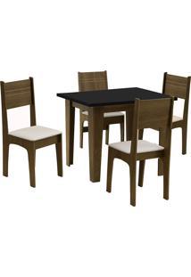 Conjunto De Mesa Para Sala De Jantar Com 4 Cadeiras Atlanta-Dobue - Castanho / Preto / Bege