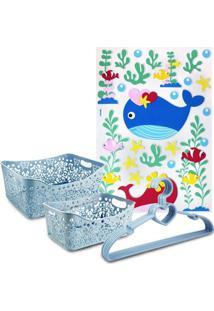 Conjunto Cesto Organizador Retangular 2 Peças E Cabide C/ 5 Pçs Lifestyle E Adesivo Para Criança Jacki Design Azul