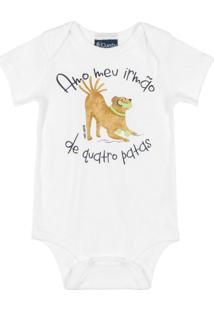 Body Bebê Manga Curta Frases Branco